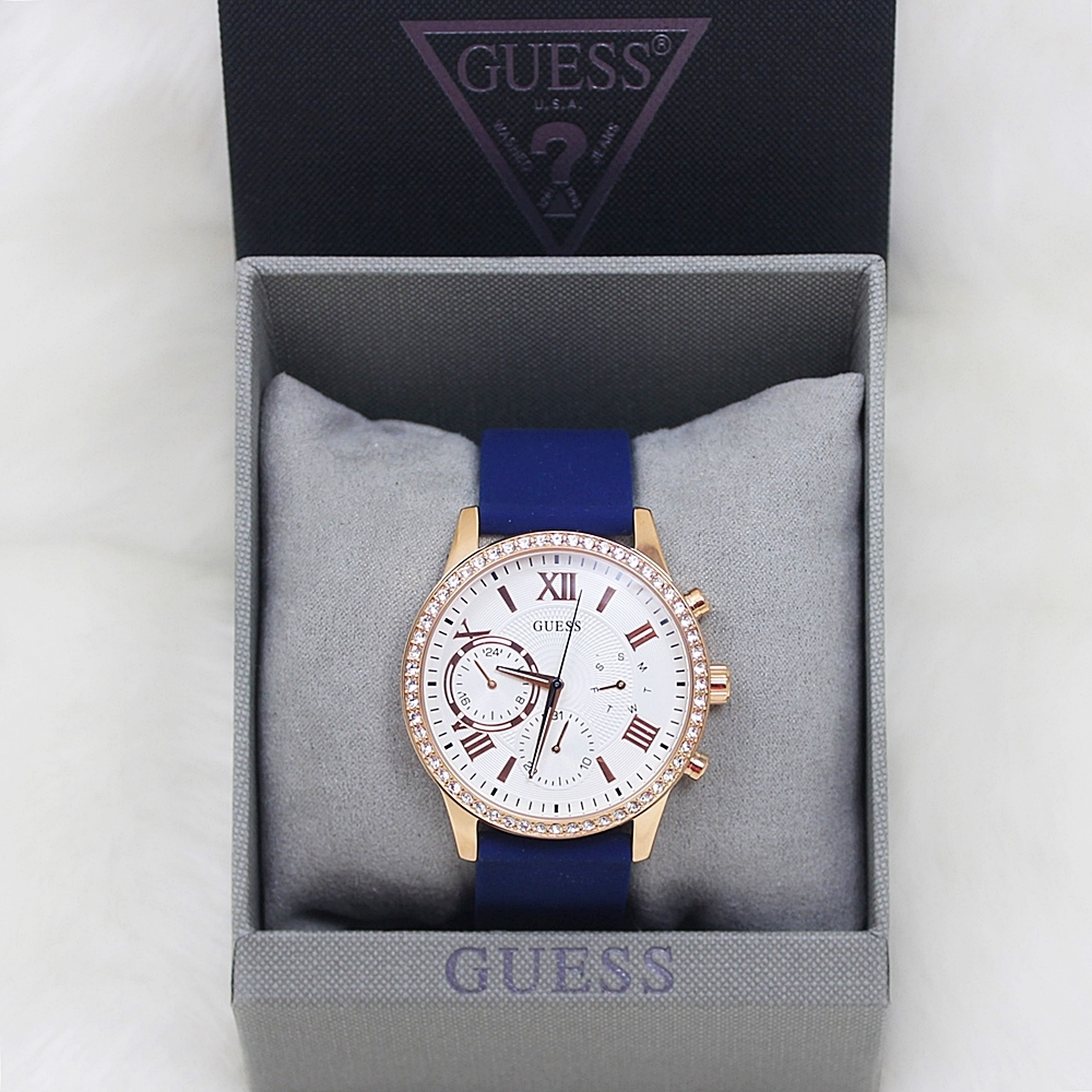 Guess U1135L3 Multifunction Crystal Women Blue/Rose Gold Watch