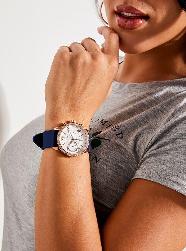 Guess U1135L3 Multifunction Crystal Women Blue/Rose Gold Watch