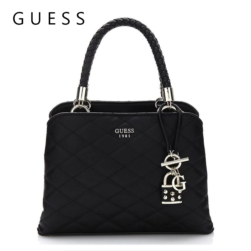 Guess Quilt Small Girlfriend Handbag Satchel Black