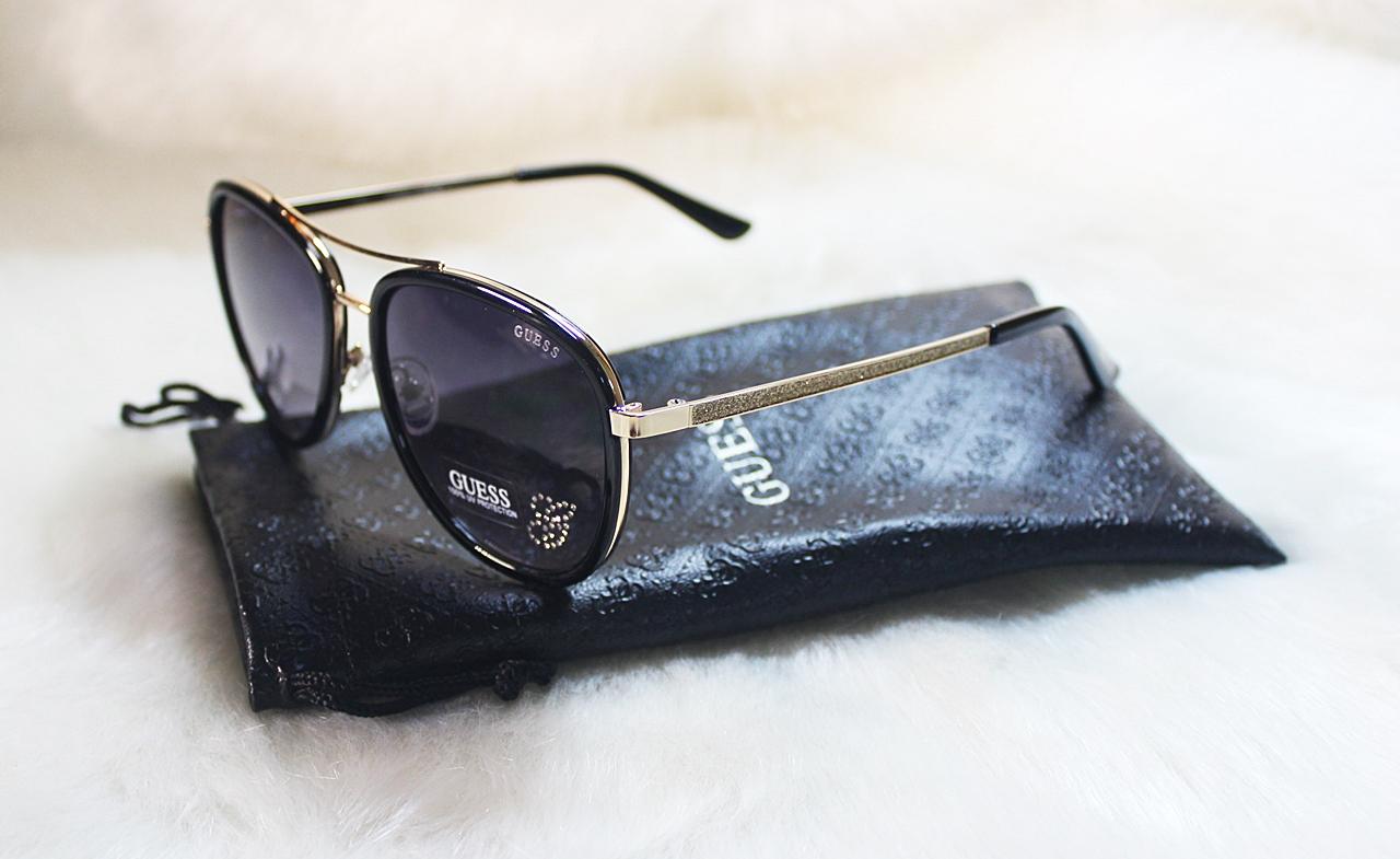 Guess Glitter Rhinestones Aviator Black Sunglasses GF6052