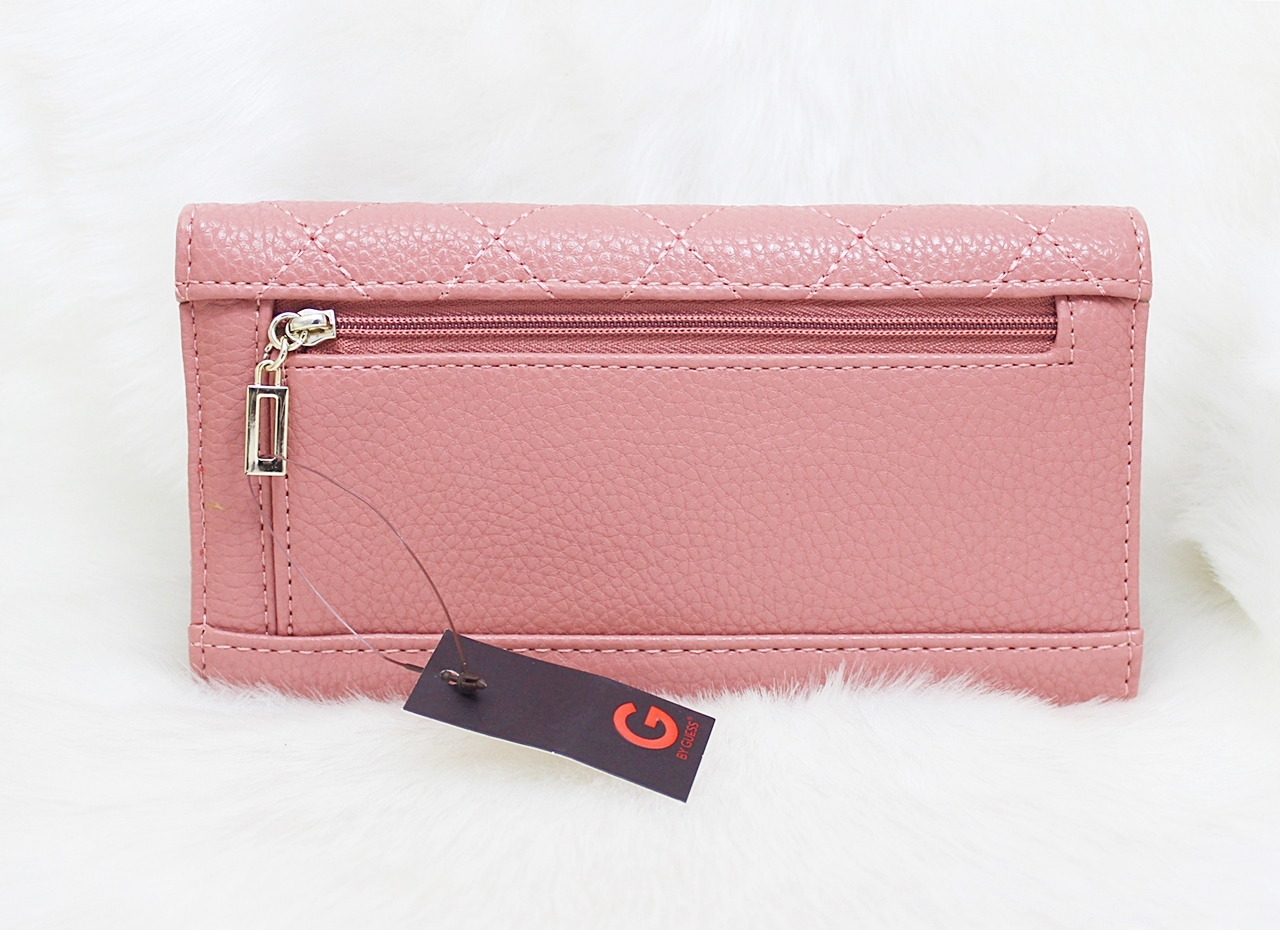 Guess Lourdes Quilted Slim Wallet Rose Blush