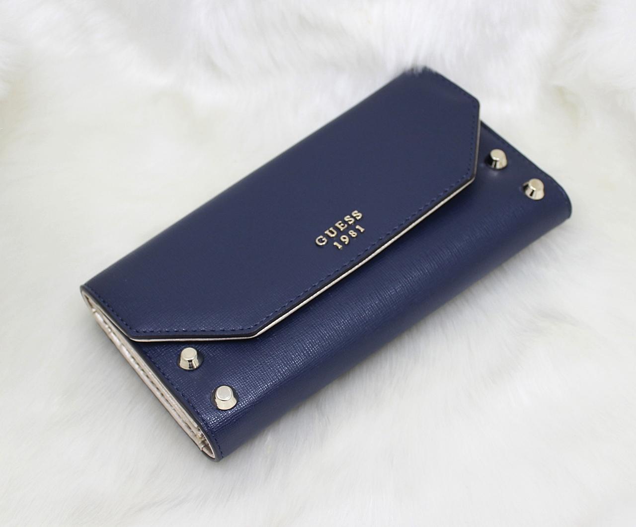 Guess Kaia Studded Women Wallet Navy Blue
