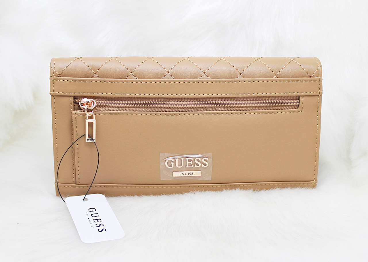 Guess G Lux Logo Quilted Women Brown Wallet