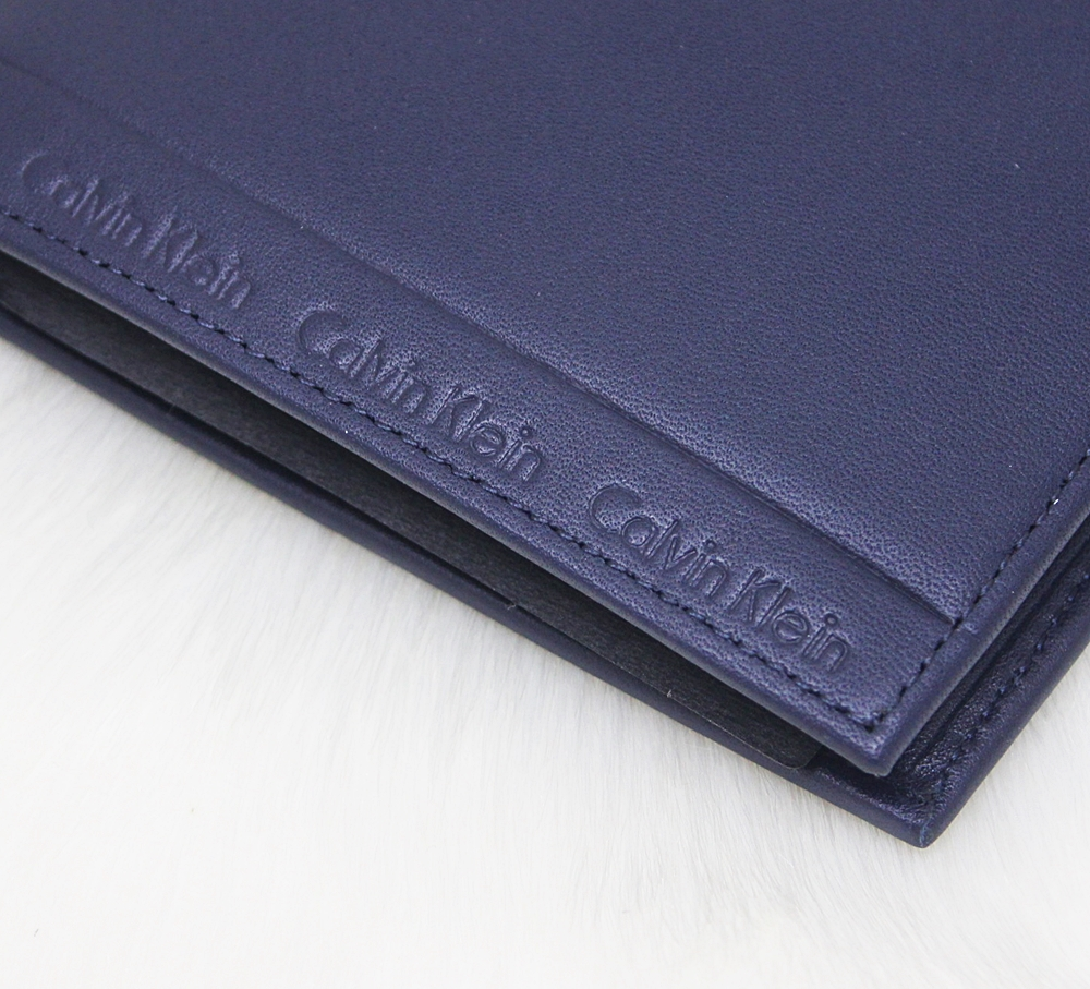 Calvin Klein Leather Logo Border Coin Wallet Navy Blue