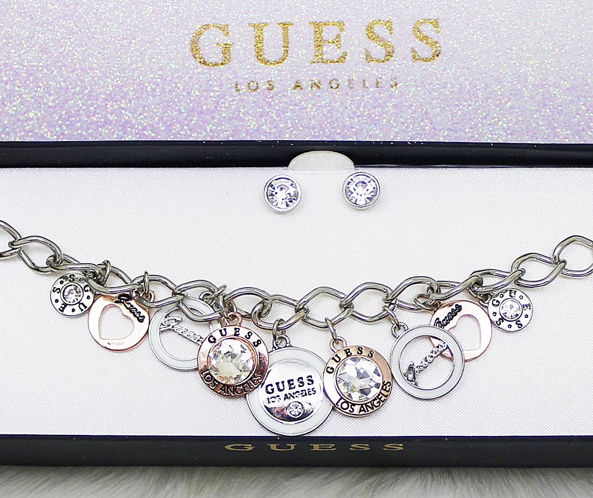 Guess Charms Crystal Silver Bracelet Earrings Box Set