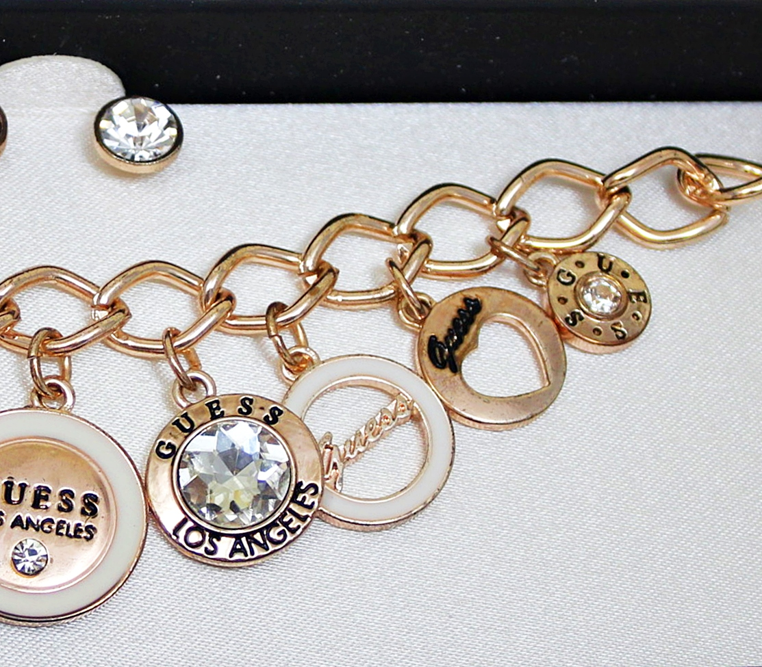 Guess Charms Crystal Rose Gold Bracelet Earrings Box Set