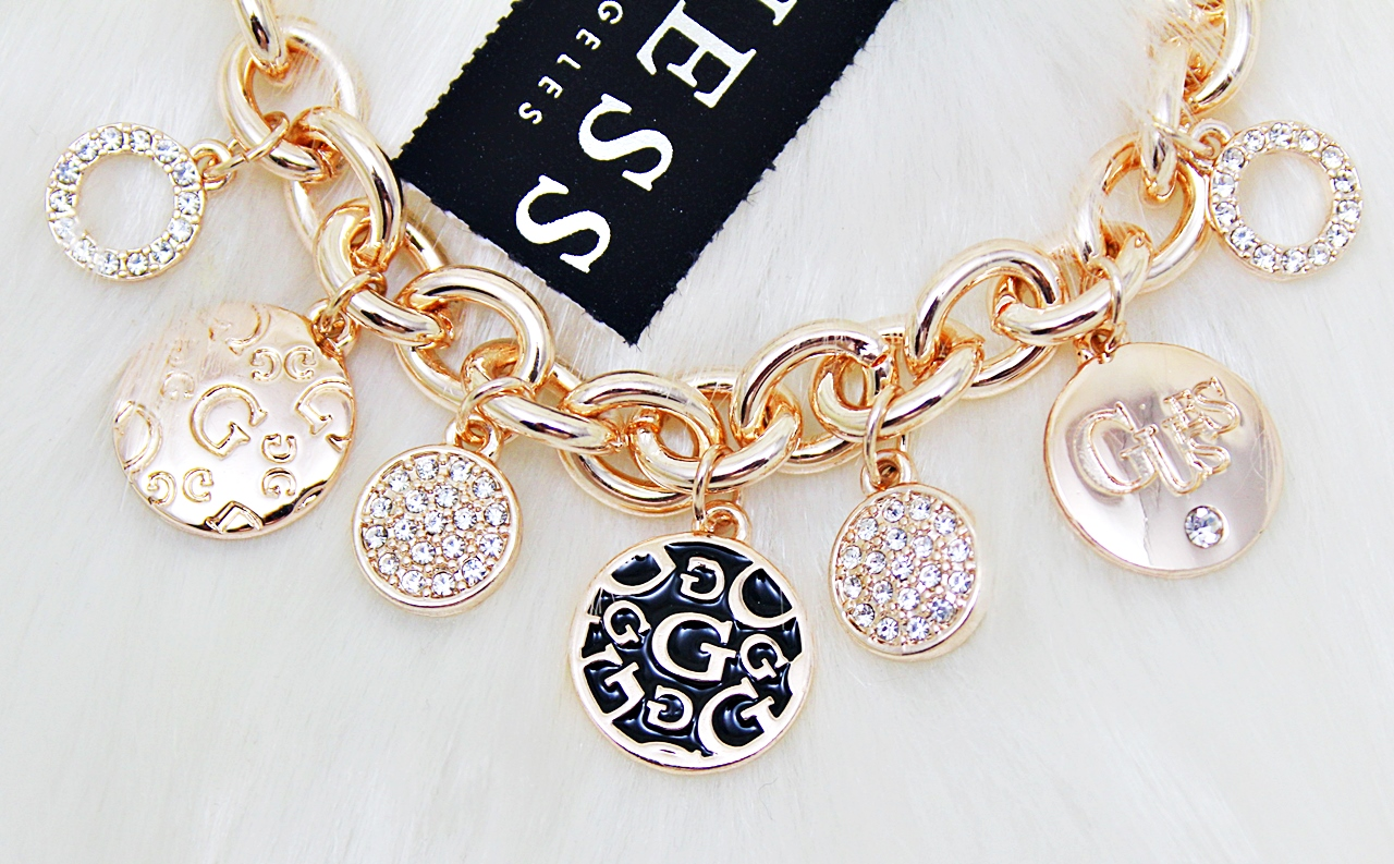 Guess Enamel Coin Charms Bracelet Rose Gold