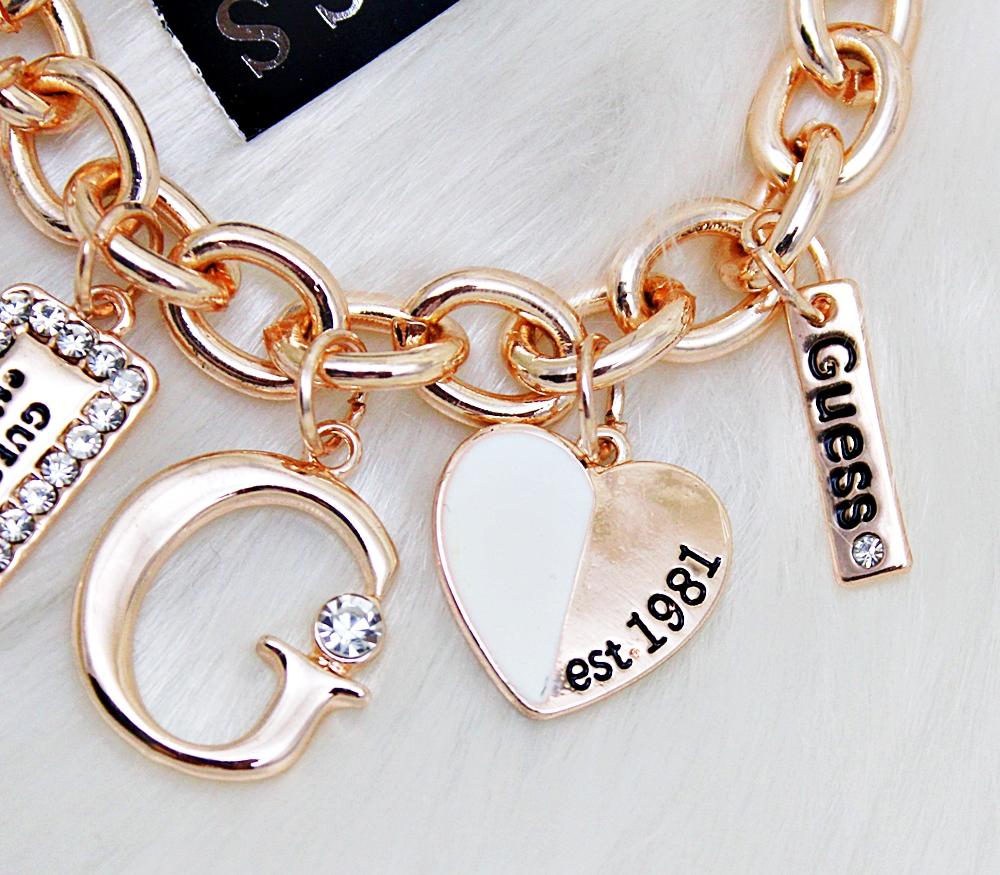 Guess White Enamel Charms Plate Bracelet Rose Gold