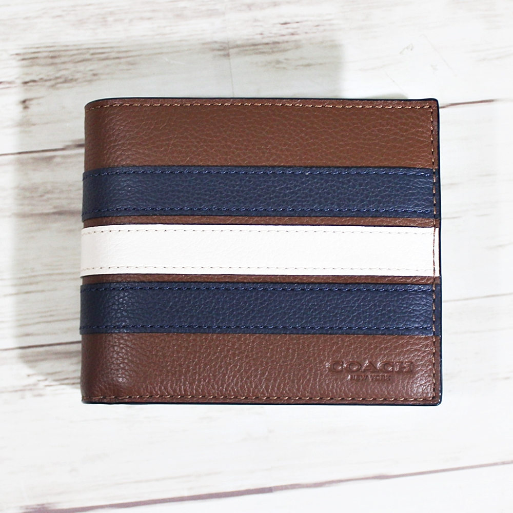 Coach F24649 3in1 Wallet with Varsity Stripe Saddle