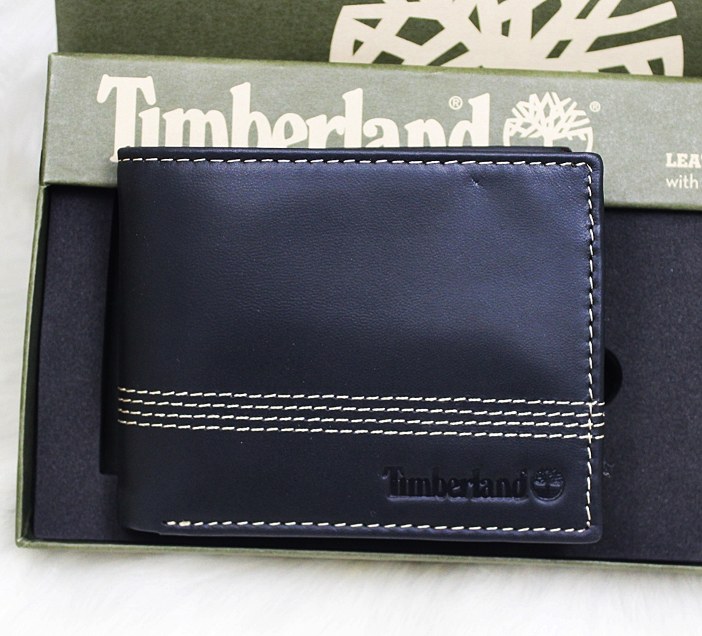Timberland Stitching Leather Slimfold Wallet Set Black