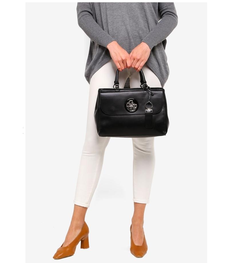 Guess Cool City Girlfriend Satchel Black Handbag Crossbody
