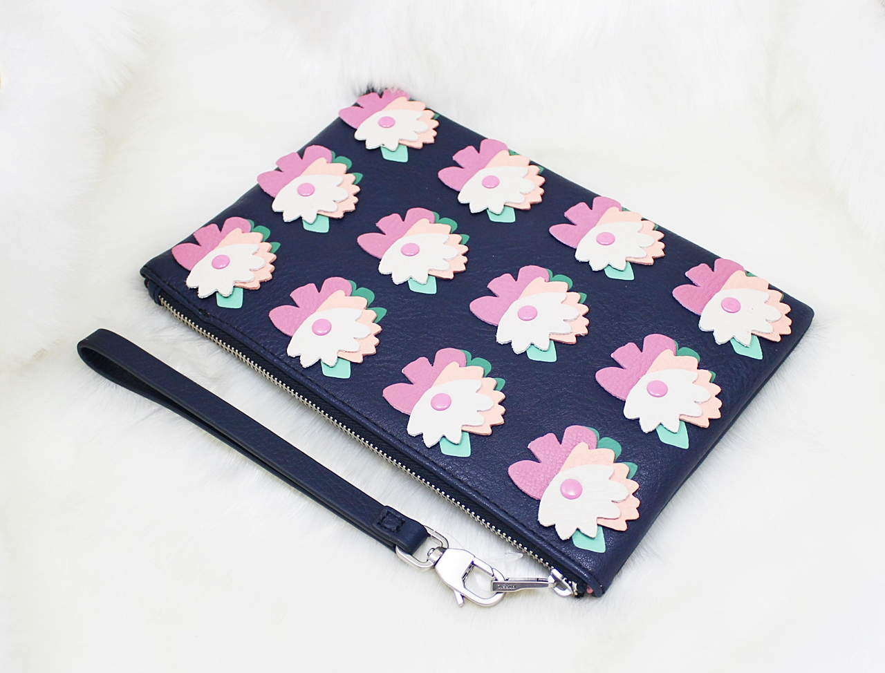 Fossil RFID Leather Wristlet Navy Floral