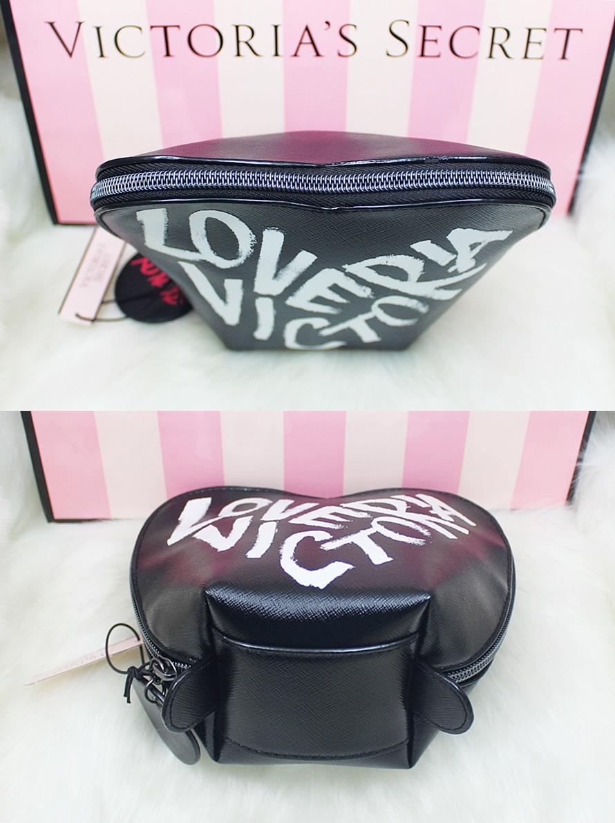 Victoria's Secret Heart Cosmetic Case Black Graffiti