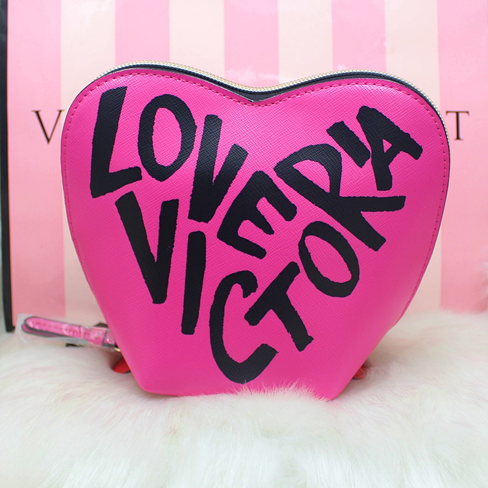 Victoria's Secret Heart Cosmetic Travel Makeup Case Red/Pink Graffiti