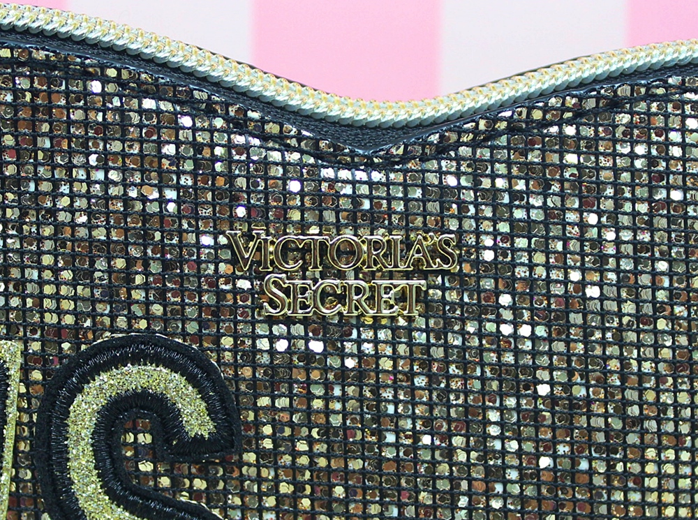 Victoria's Secret Heart Cosmetic Travel Makeup Case Gold Glitter