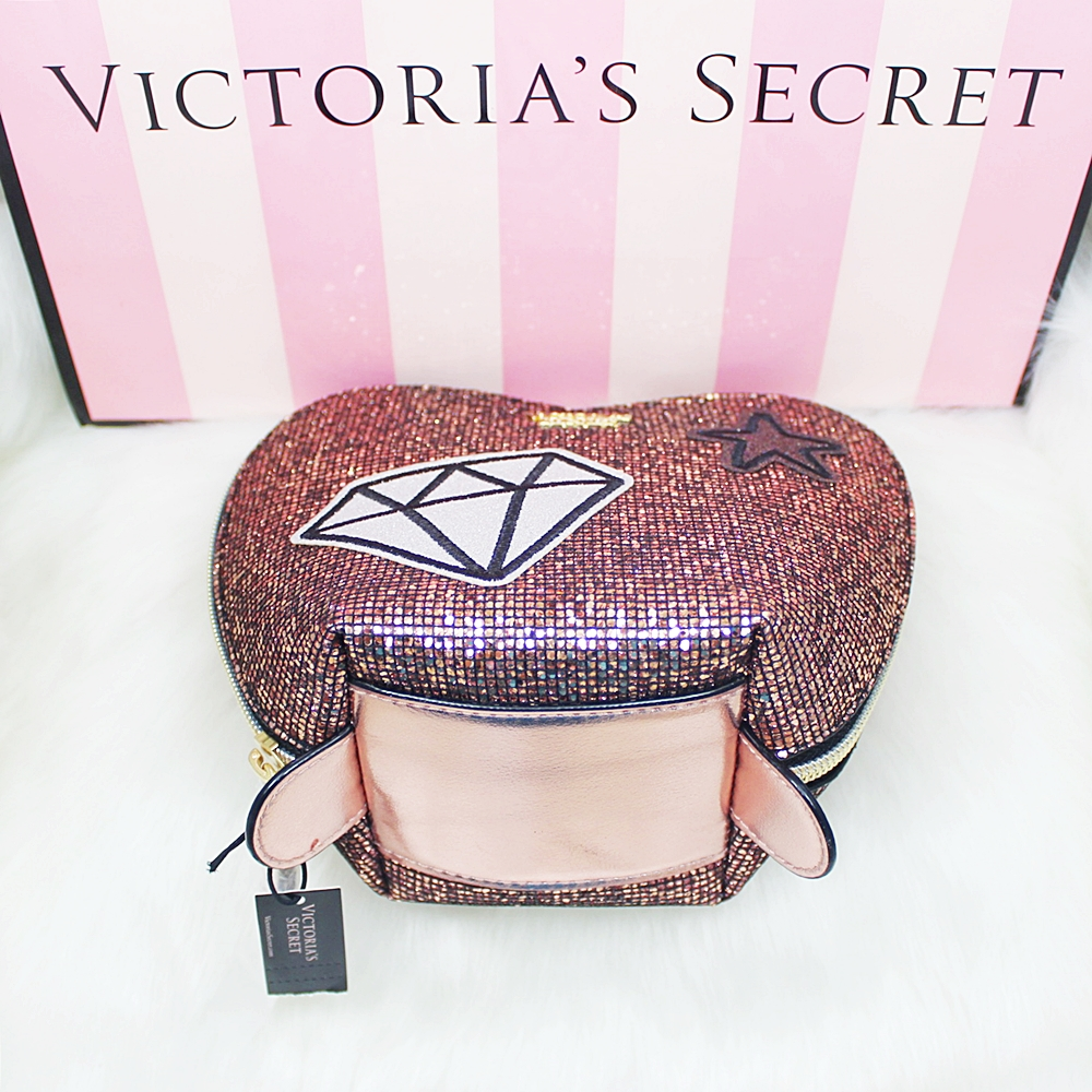 Victoria's Secret Heart Cosmetic Travel Makeup Case Pink Glitter