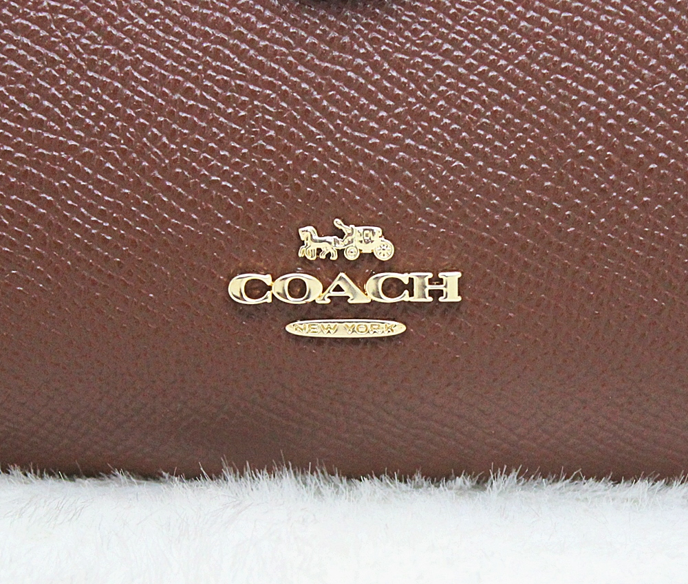 Coach F11484 Corner Zip Crossgrain Leather Medium Wallet Saddle