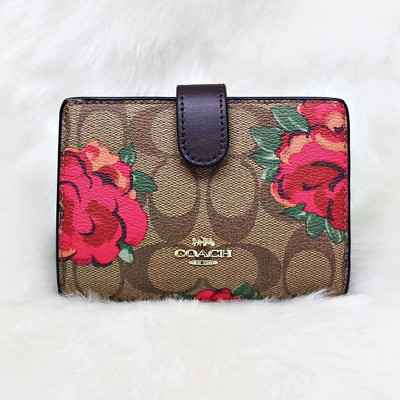 Coach F39190 Jumbo Floral Medium Corner Zip Wallet Khaki/Oxblood
