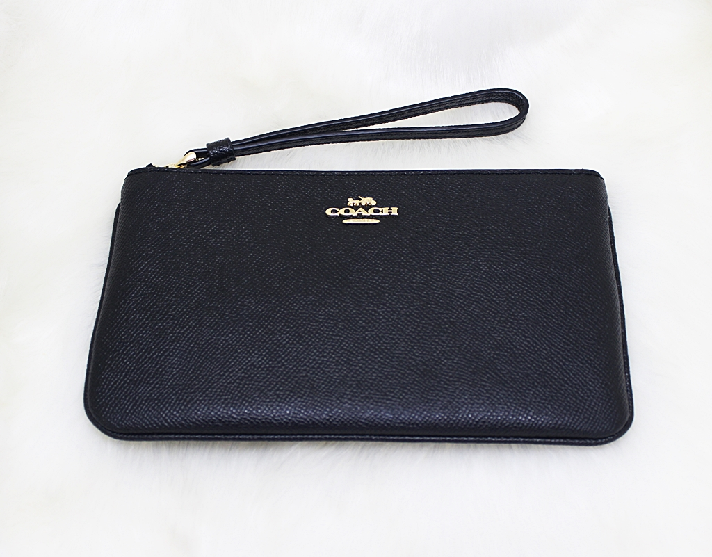 Coach F57465 Crossgrain Leather Large Wristlet Black