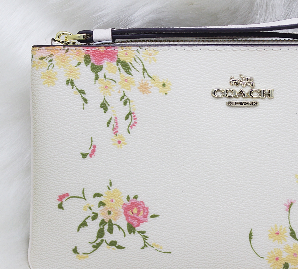 Coach F30018 Floral Bundle Print Large Wristlet White