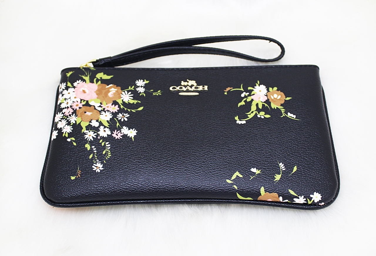 Coach F30018 Floral Bundle Print Large Wristlet Black