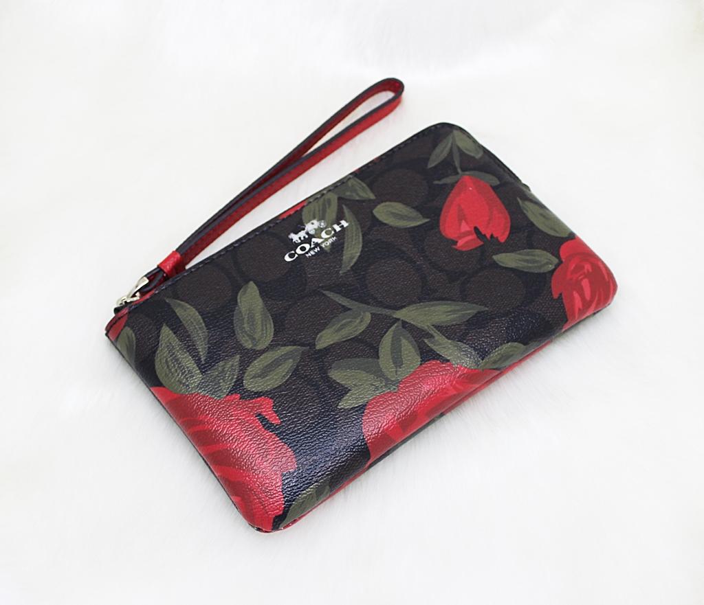 Coach F26291 Camo Rose Corner Zip Wristlet Brown Red Multi