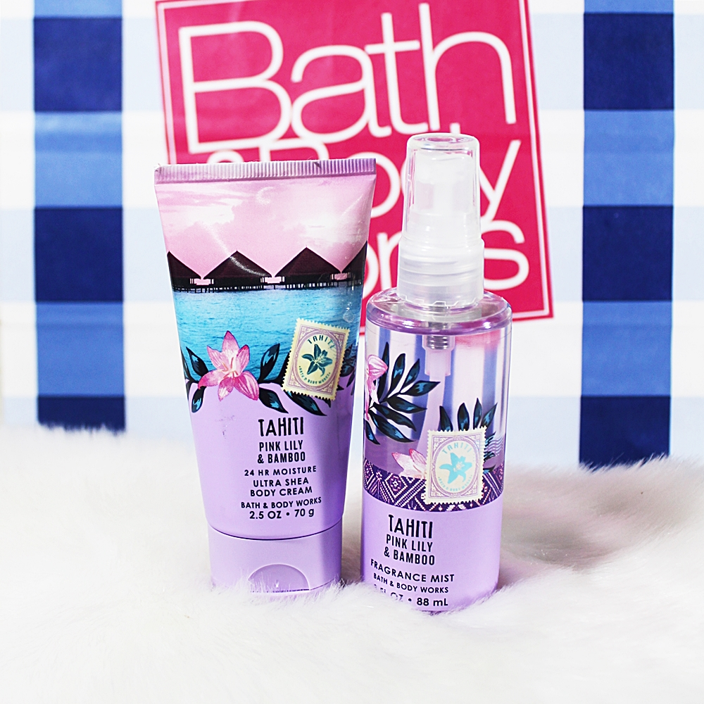Bath & Body Works Tahiti Pink Lily Bamboo Travel Mist Body Cream 2pc Set