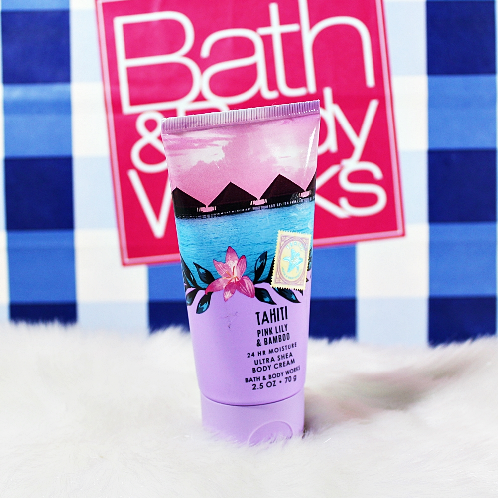 Bath & Body Works Tahiti Pink Lily Bamboo Travel Body Cream