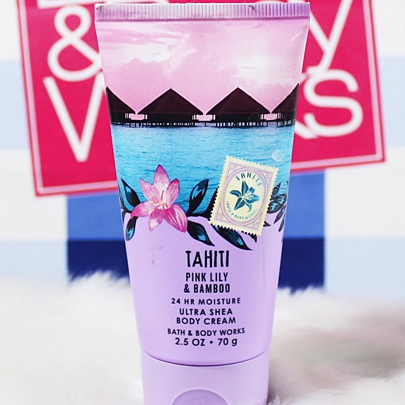 Bath & Body Works Tahiti Pink Lily Bamboo Travel Body Cream