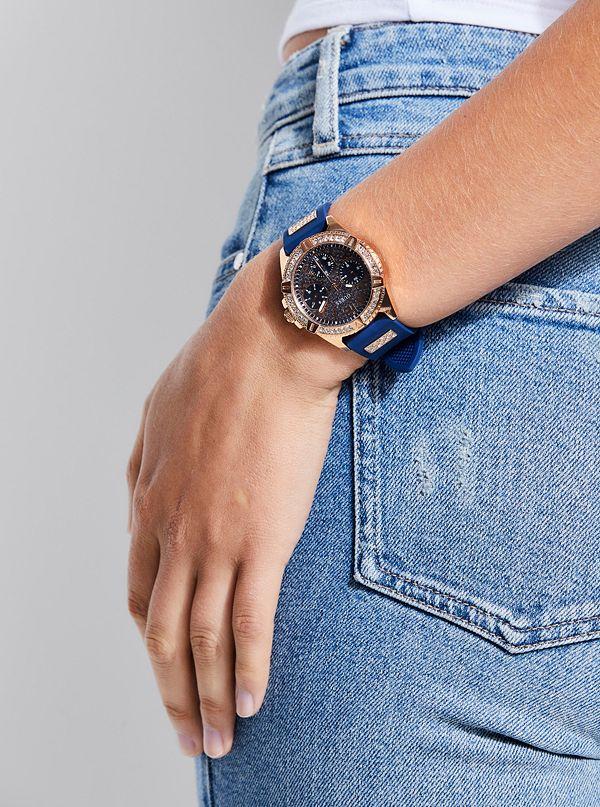Guess U1160L3 Rhinestones Multifunction Women Blue/Rose Gold Watch