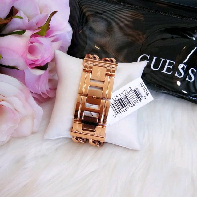 Guess U1117L3 Women Rectangle Double Chain Rose Gold Watch