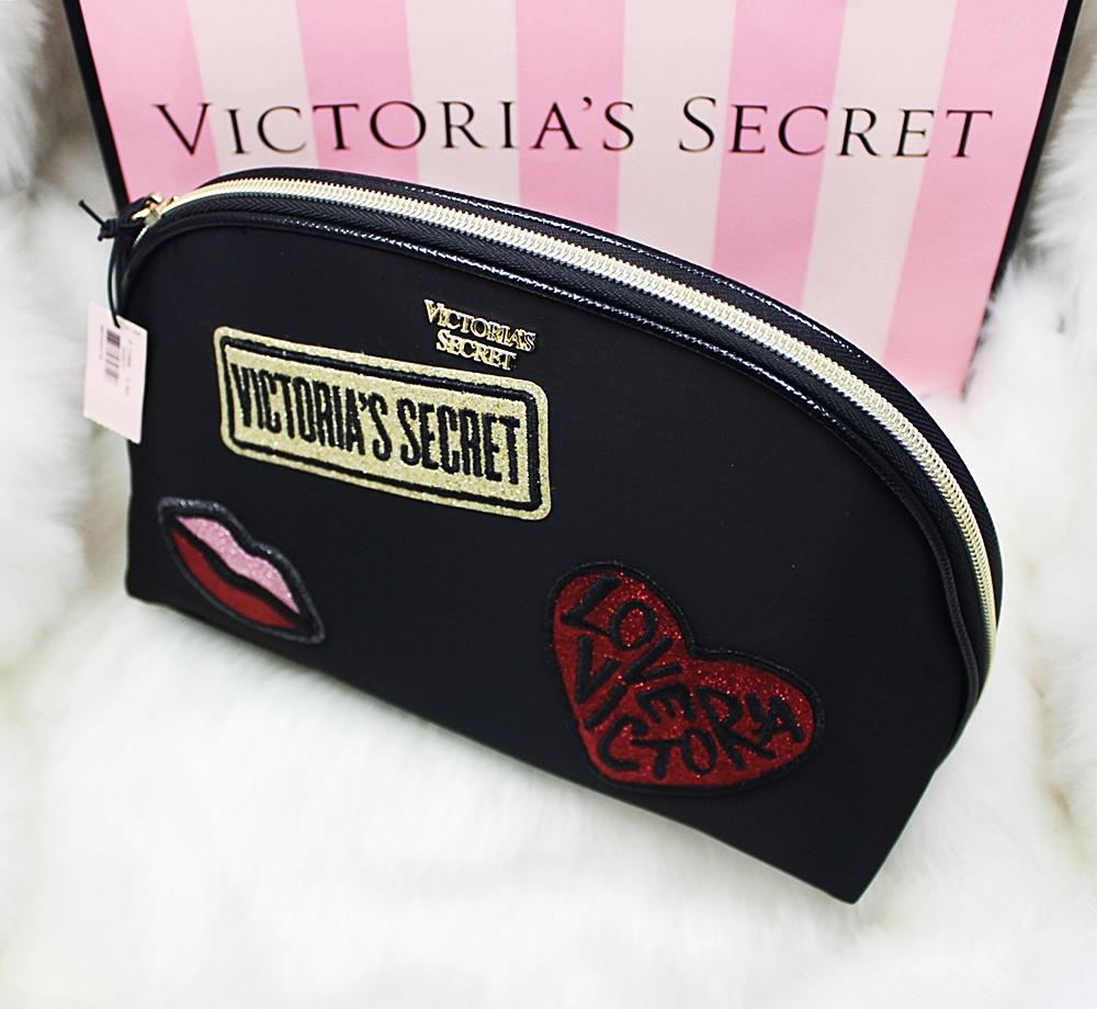 Victoria's Secret Patch Glam Cosmetic Makeup Case Black