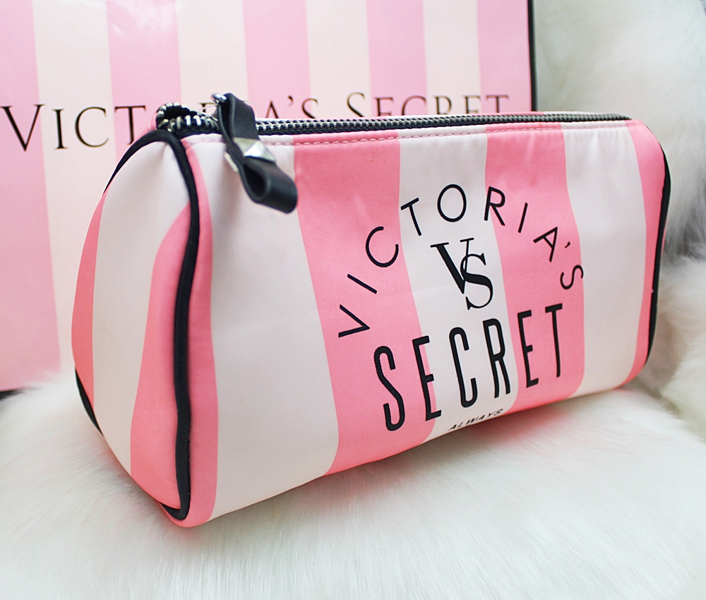 Victoria's Secret Pink Stripe Large Cosmetic Case