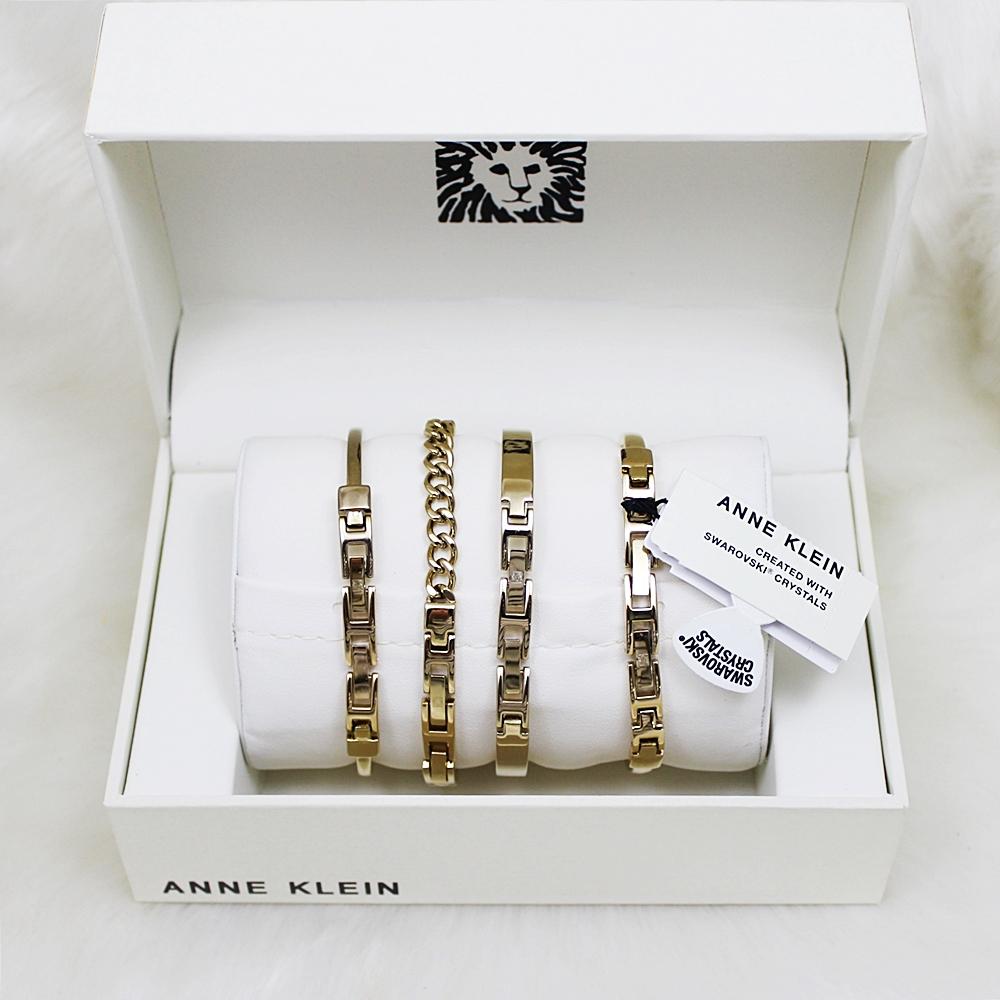 Anne Klein AK/1470 Gold/Black Women Watch Bangle Set