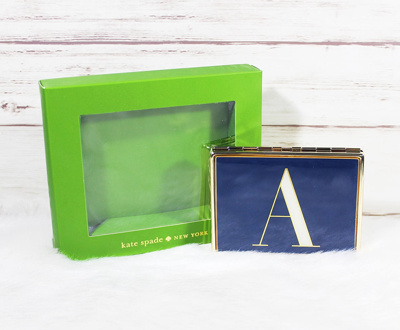 Kate Spade Initial Navy A It's Personal ID Holder Business Card Case