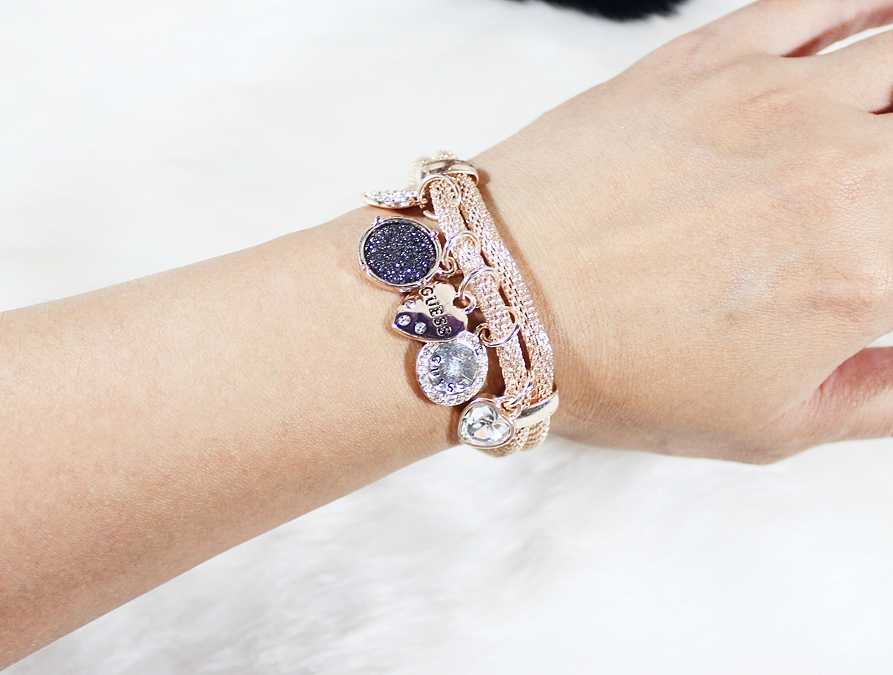 Guess Mesh Charms Bracelet Rose Gold
