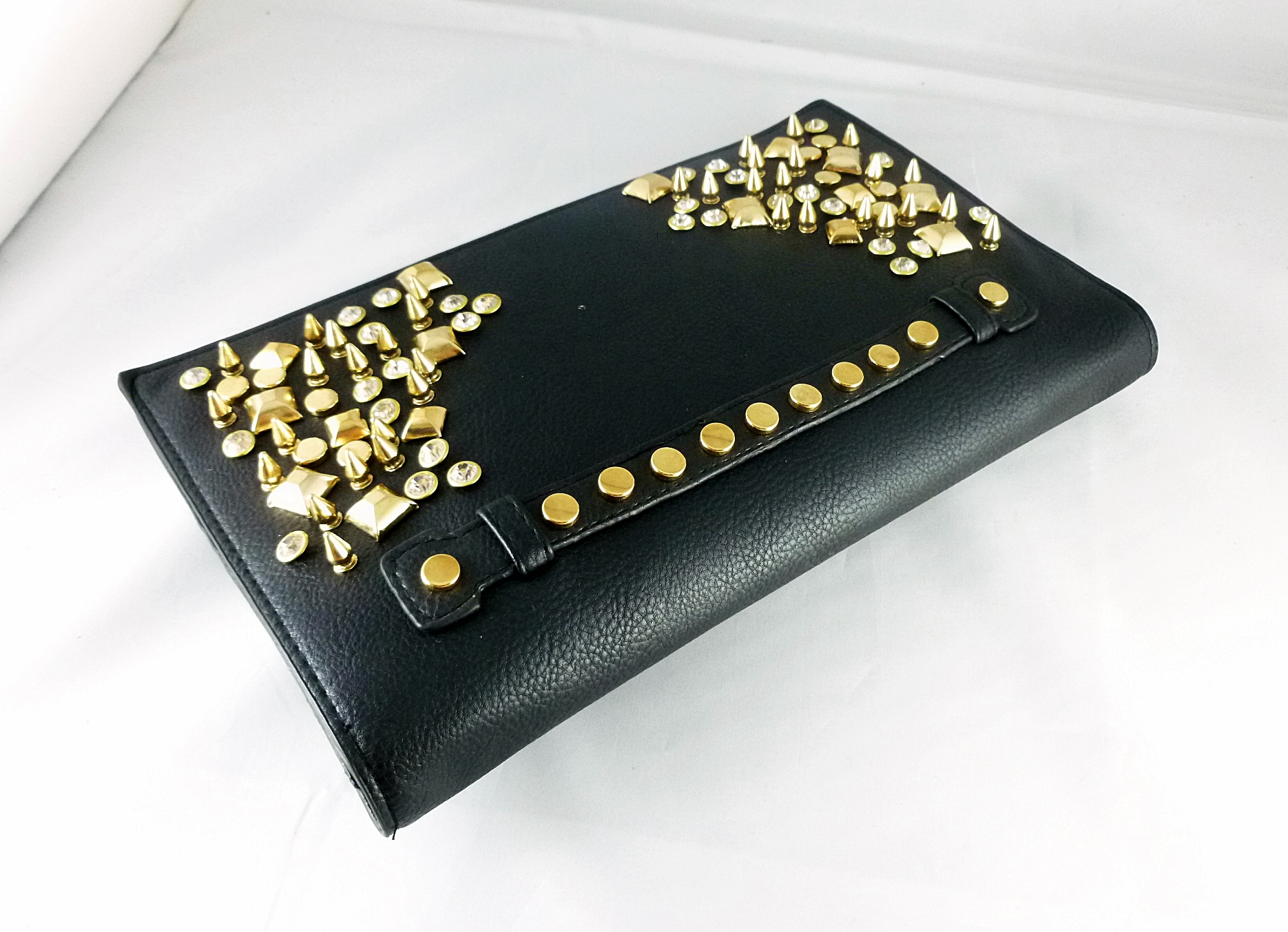 Studded Oversized Black Clutch Crossbody