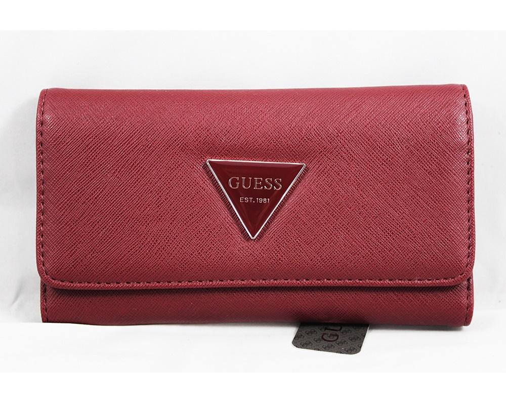 Guess Women Abree Slim Wallet Dark Red