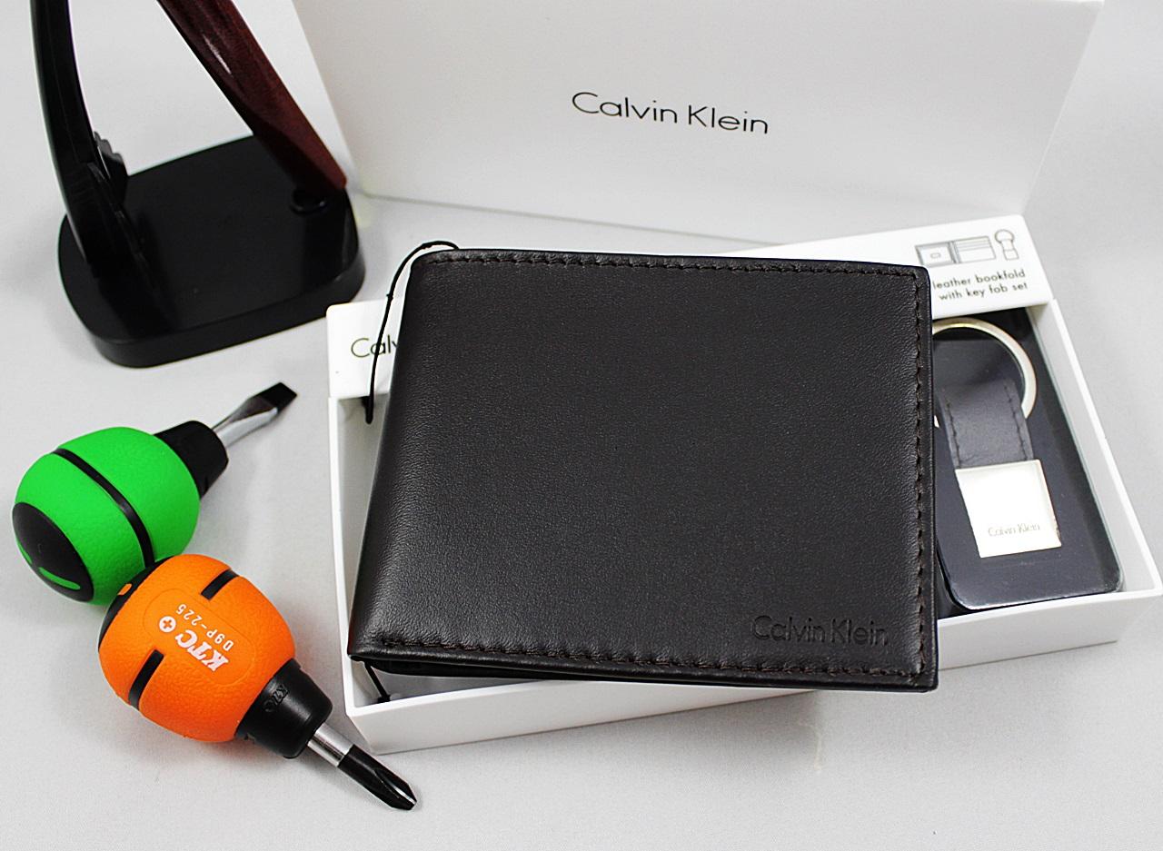 Calvin Klein Men Bookfold Keyfob Wallet Set Dark Brown