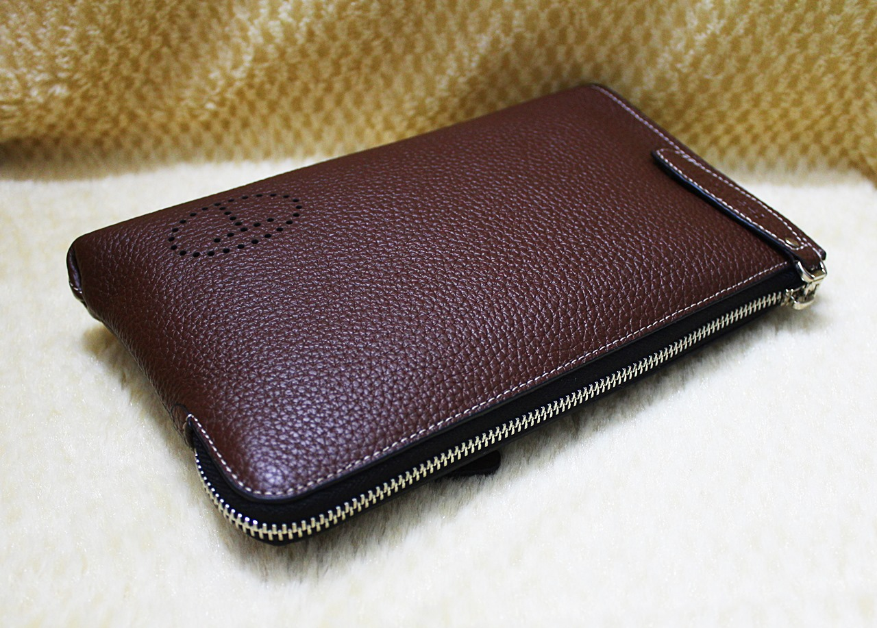 Teemzone Unisex Leather Large Wrist Bag Coffee
