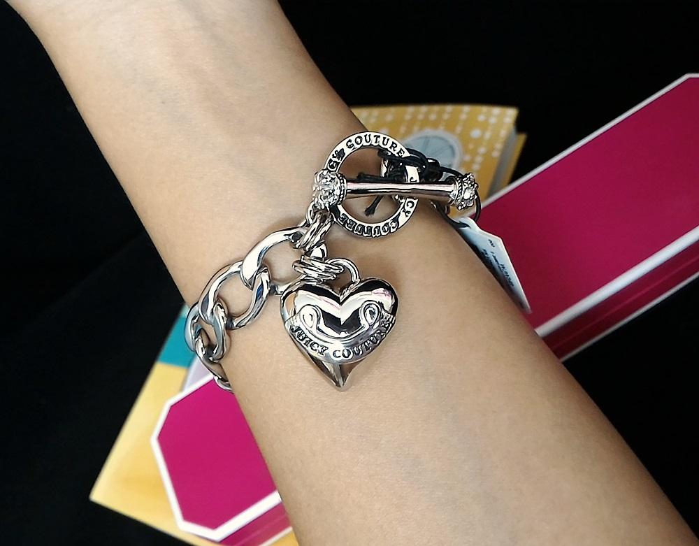 Juicy Couture Banner Heart Starter Bracelet Silver