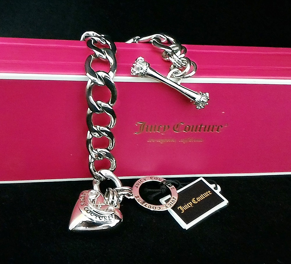 Juicy Couture Banner Heart Starter Bracelet Silver