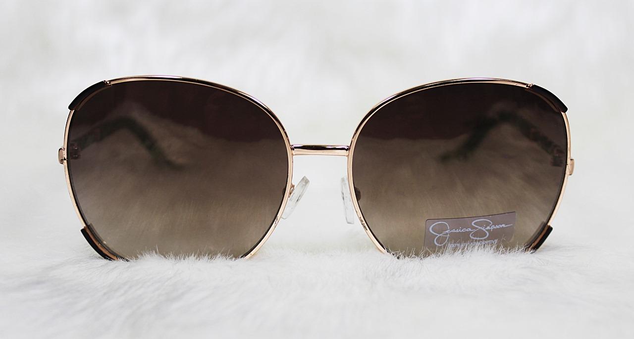 Jessica Simpson Glam Square Sunglasses Brown/Rose Gold