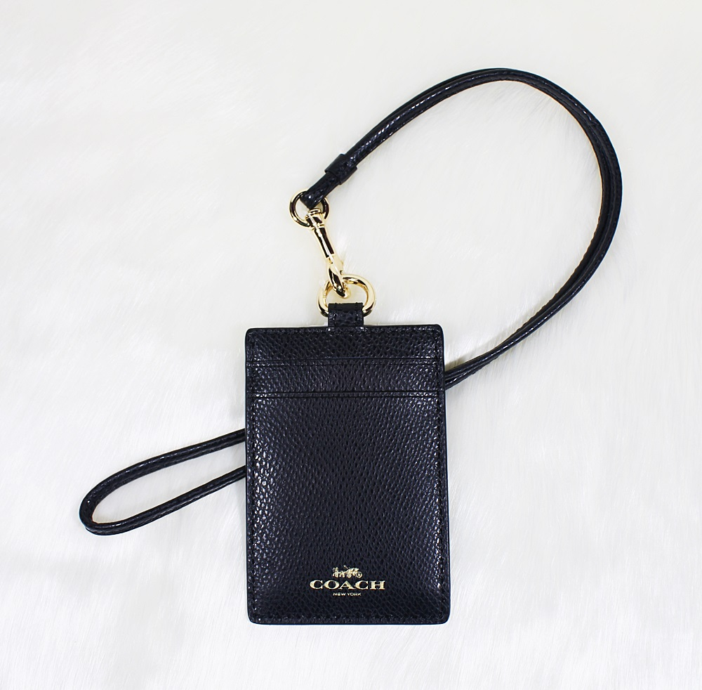 Coach F57311 Crossgrain Leather ID Lanyard Black