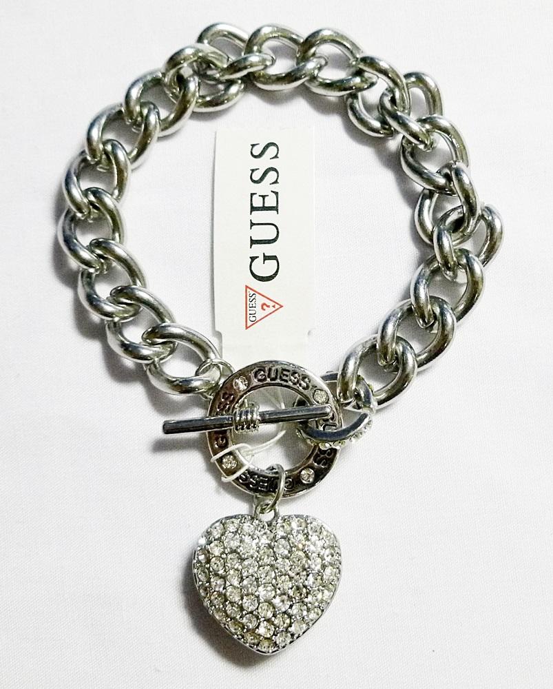 Guess Rhinestones Heart Bracelet Silver