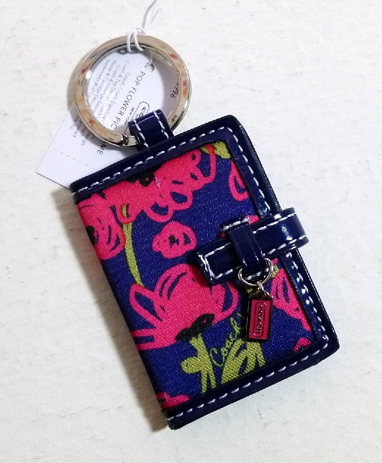 Coach F63996 Poppy Flower Pic Frame Key Chain Navy Multi