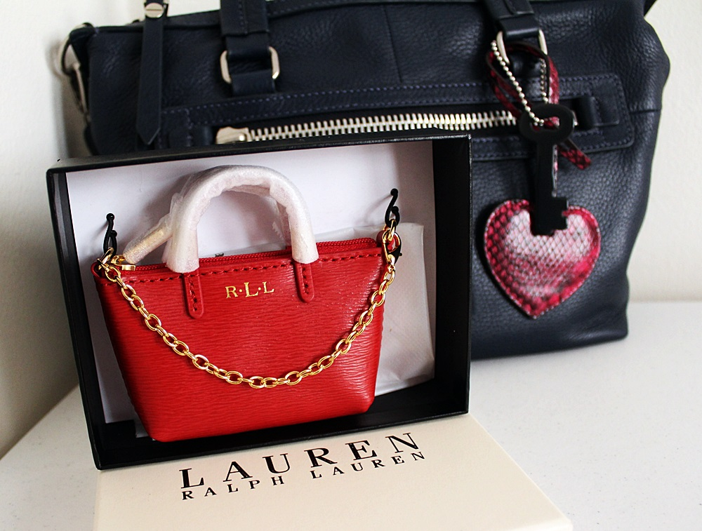 Ralph Lauren Newbury Coin Purse Bag Charm Red