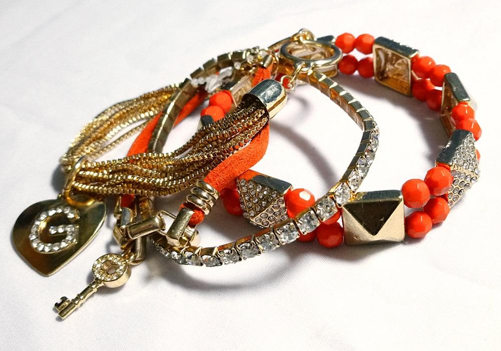 Guess Friendship Bracelet Set Gold/Orange
