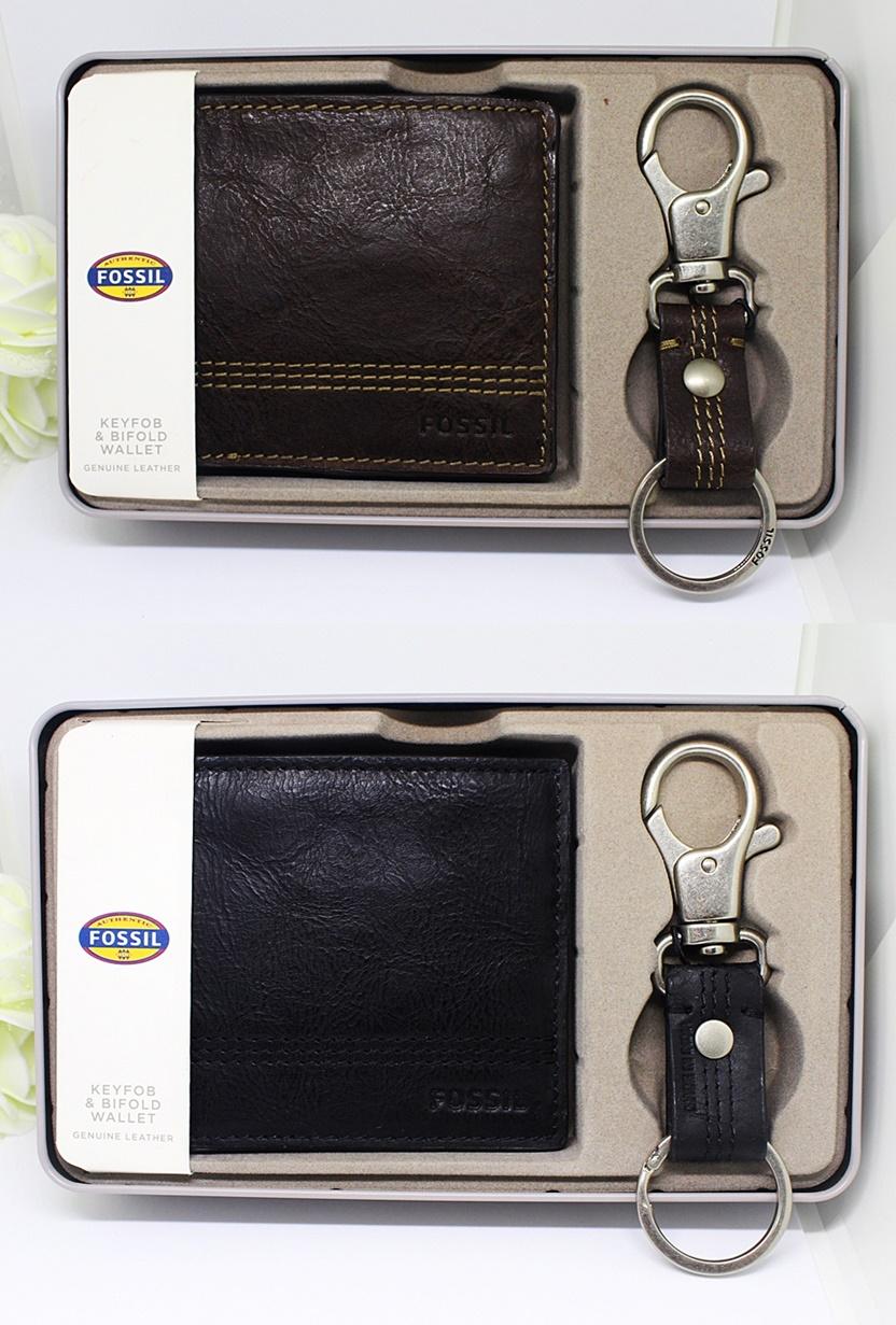 Fossil Kyle Men Wallet Key Chain Set Dark Brown