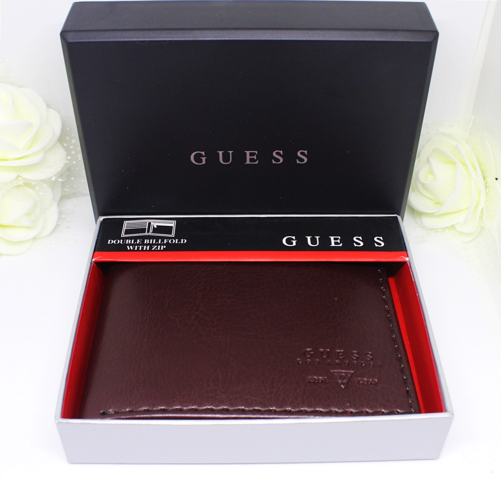 Guess Sedona Zip Pocket Bifold Men Wallet Brown